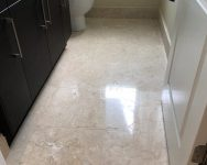 marble floors in guest bathroom maintained by Majestic Marble Care